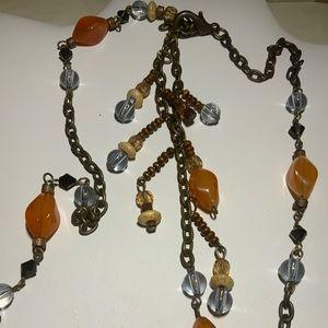 Long Necklace Orange Blue Brown Colors
